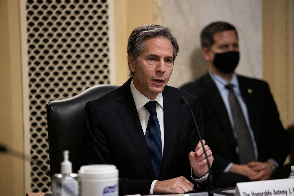 Antony J. Blinken, of New York, speaks during his confirmation hearing to be Secretary of State before the US Senate Foreign Relations Committee at the US Capitol in Washington January 19, 2021. ― Pool via Reuters
