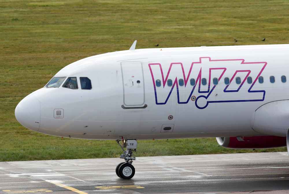 A Wizz Air Airbus A320 from Sofia, Bulgaria taxis to a gate after landing at Luton Airport in Luton, Britain, May 1, 2020. — Reuters pic