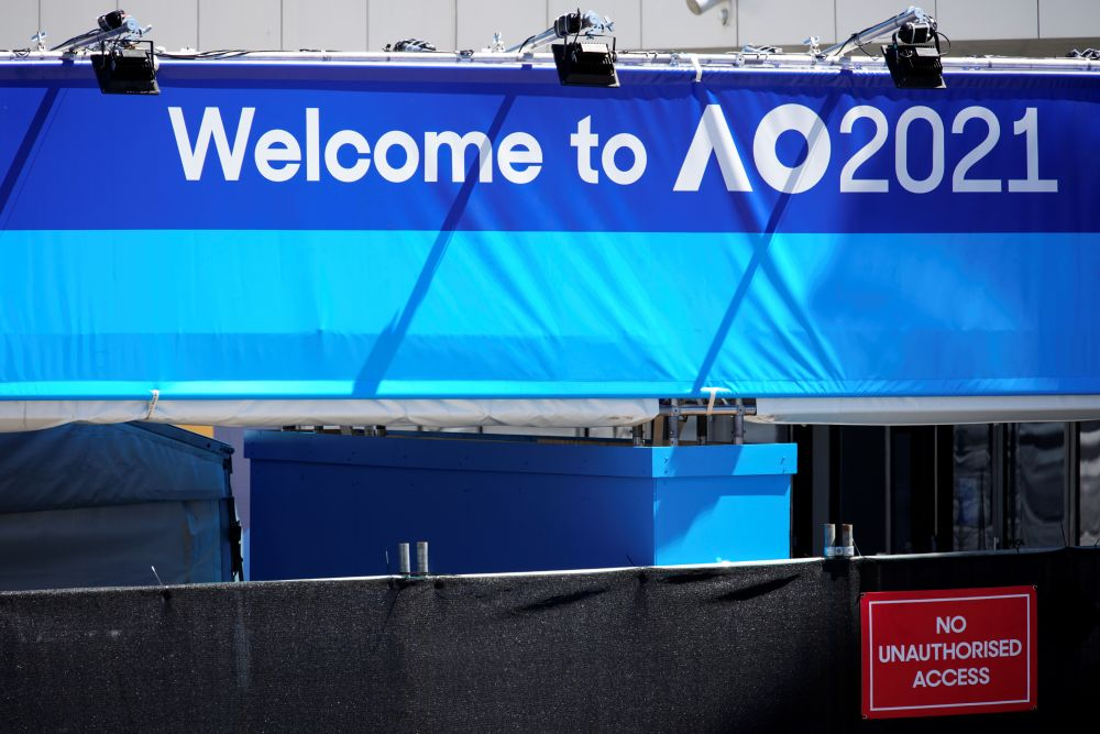 A sign is seen at the entrance to the Australian Open training grounds in Melbourne January 20, 2021. — Reuters pic