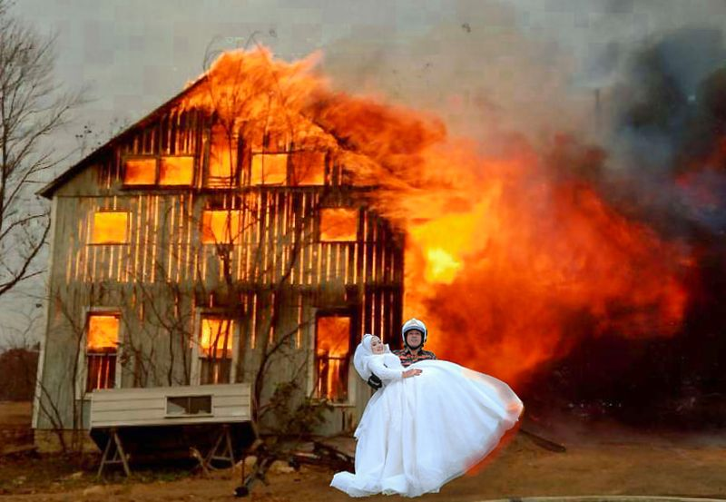 While it looks pretty realistic, the couple didn't actually stand in front of a burning building in case you were wondering. — Picture via Facebook/Fitrin Ruslee.