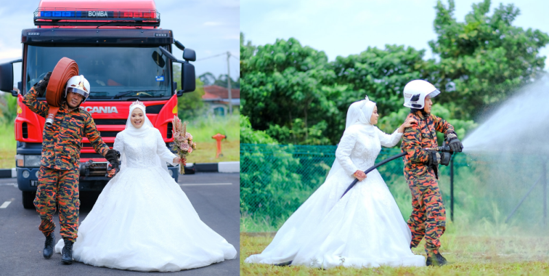 Asikin finally got her dream of having a Bomba-styled wedding photoshoot. — Picture via Facebook/Fitrin Ruslee.