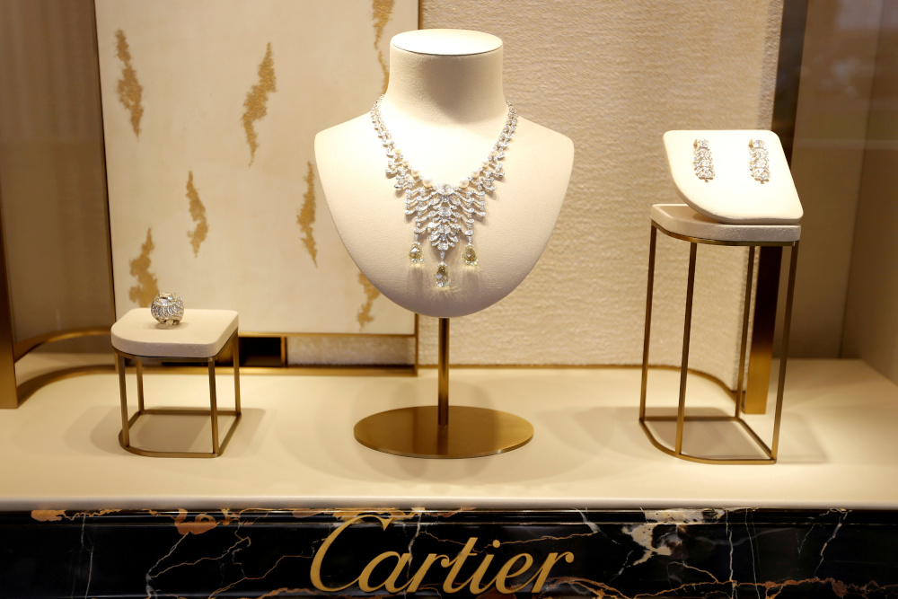 Jewellery is displayed at a Cartier store on Place Vendome in Paris, France, July 2, 2019. — Reuters pic