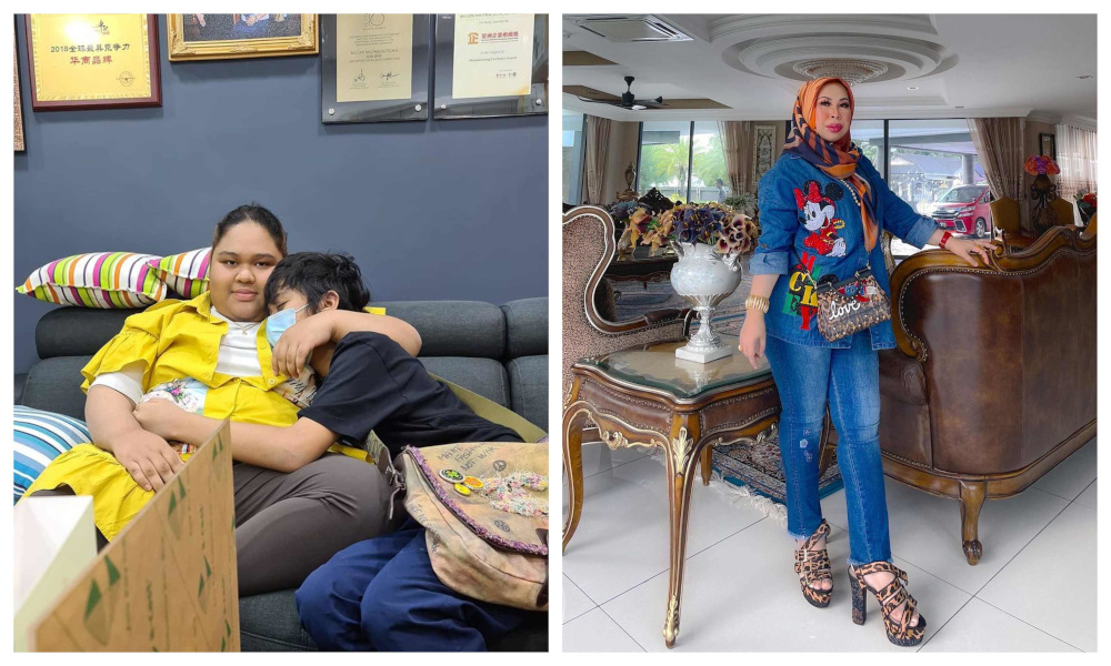 Datuk Seri Vida (right) says she has never stopped her children Cik B and Kacak from contacting their father. — Pictures from Instagram/Datuk Seri Vida