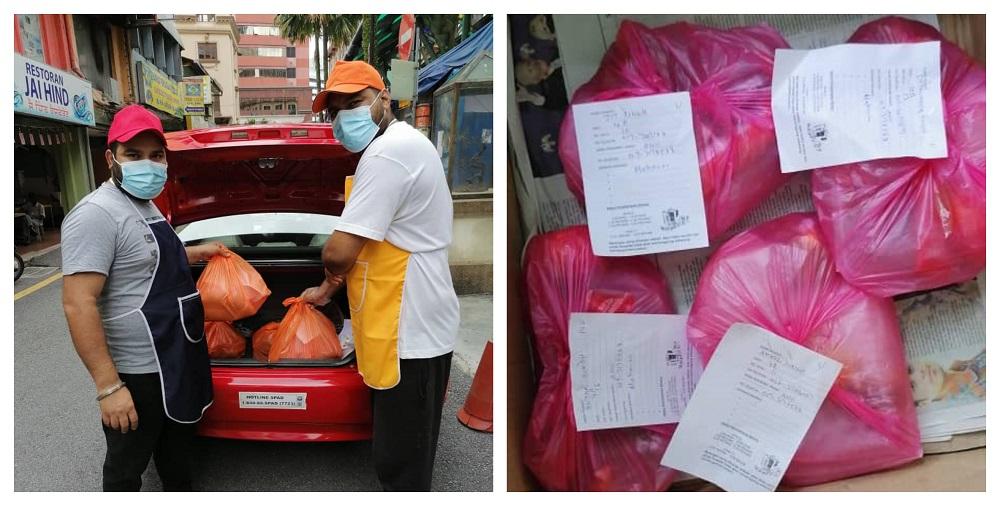 Delivery person-in-charge packing food packets to be delivered to Sungai Buloh Hospital. ― Picture courtesy of Jesvinder Singh