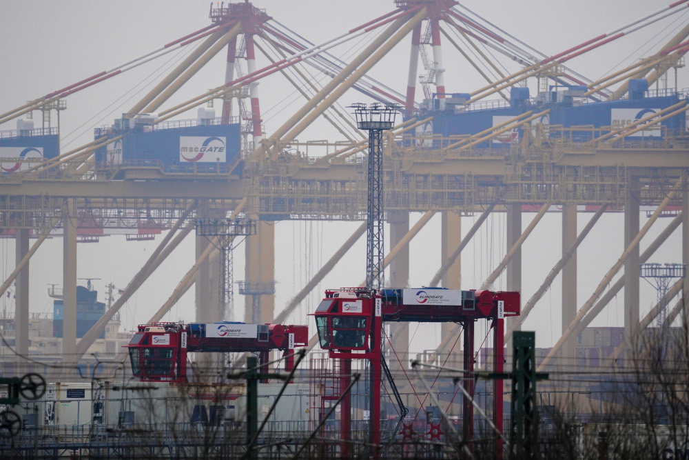 This file photo taken December 8, 2020 shows cargo facilities at the harbour of Bremerhaven, northern Germany. — AFP pic
