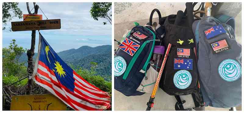 The view from Laksamana Hill (right) and the ladies' hydration packs with Rose Foundation badges. — Picture courtesy of Rebecca Roberts