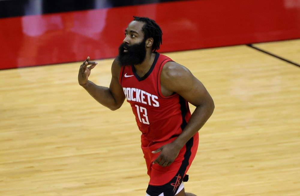 James Harden #13 of the Houston Rockets reacts to a basket during the first quarter of a game against the Los Angeles Lakers at Toyota Centre on January 10, 2021 in Houston. — Reuters pic