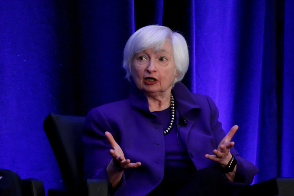 Janet Yellen, who served as Federal Reserve chair from 2014 to 2018, was approved on a 26-0 vote in the committee evenly split between Democrats and Republicans. — Reuters pic