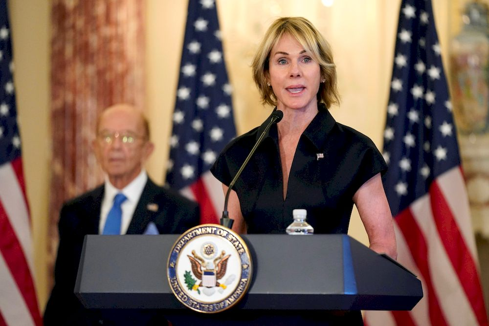 US Ambassador to the United Nations Kelly Craft speaks during a news conference to announce the Trump administration's restoration of sanctions on Iran, at the US State Department in Washington, US, September 21, 2020. — Reuters pic