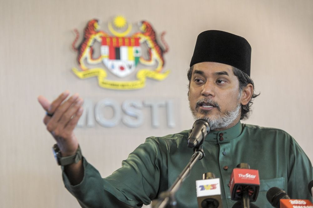 Science, Technology and Innovation Minister Khairy Jamaluddin speaks during the launch of the Malaysia Grand Challenge in Putrajaya January 8, 2021. — Picture by Shafwan Zaidon