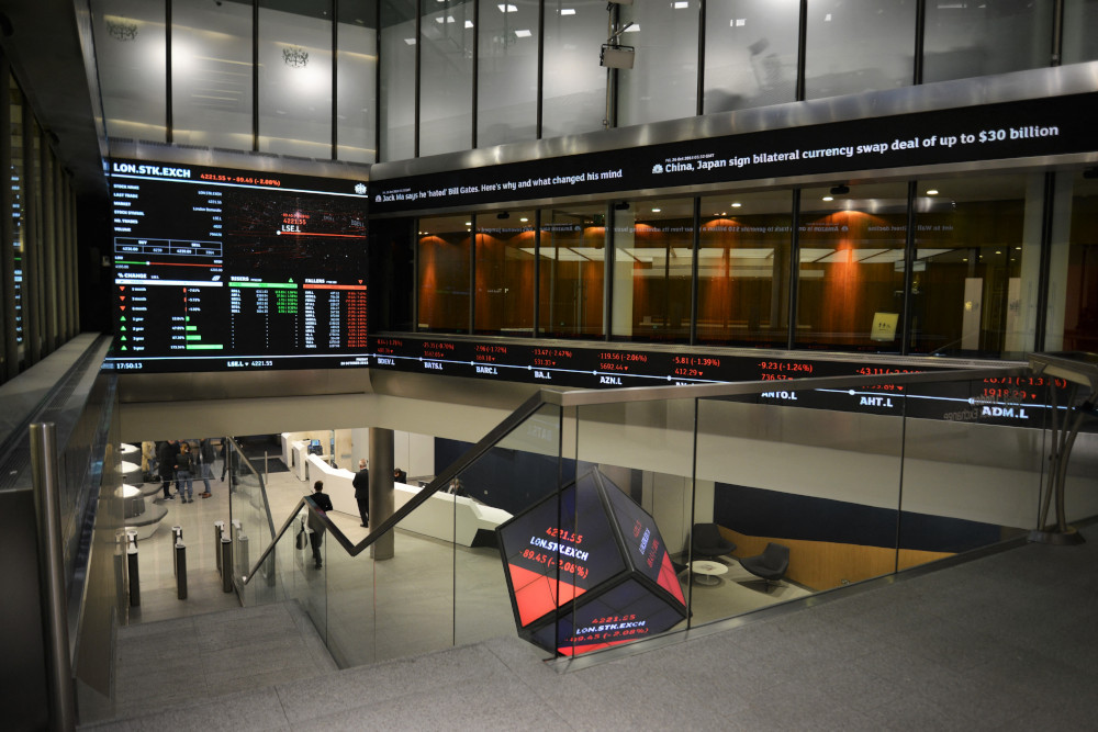 London Stock Exchange Group in London, UK, March 9, 2020. The blue-chip FTSE 100 index was up 0.7 per cent after two consecutive sessions of declines, while the mid-cap index gained 0.2 per cent. — IPA/ABACA pic via Reuters