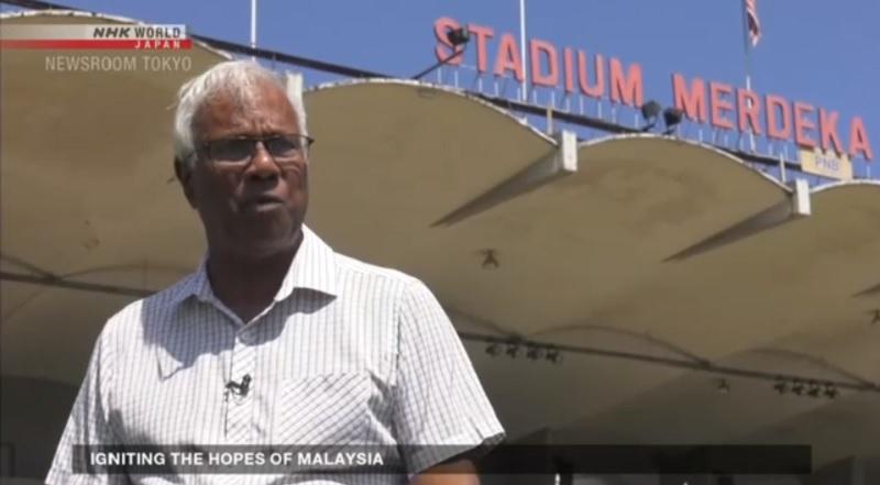 A screenshot of Tan Sri Dr M. Jegathesan at Merdeka Stadium. — Picture via NHK video