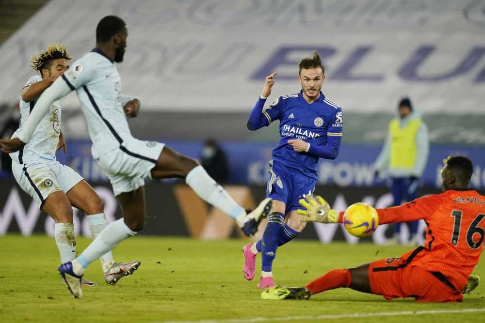 Leicester City's James Maddison scores against Chelsea at the King Power Stadium in Leicester January 19, 2021. — Reuters pic
