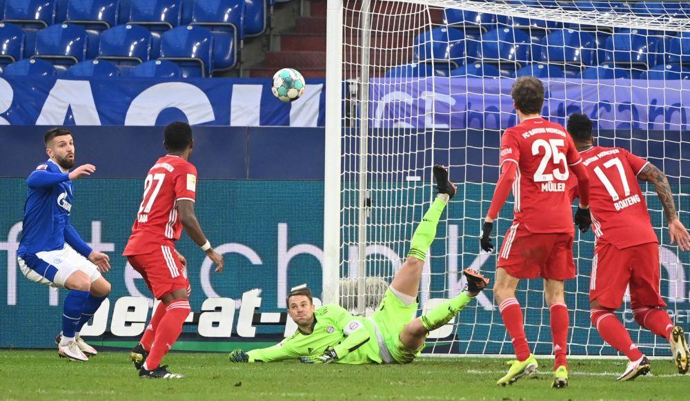 Bayern Munich's Manuel Neuer makes a save  against Schalke at the Veltins-Arena, Gelsenkirchen January 24, 2021. — Reuters pic