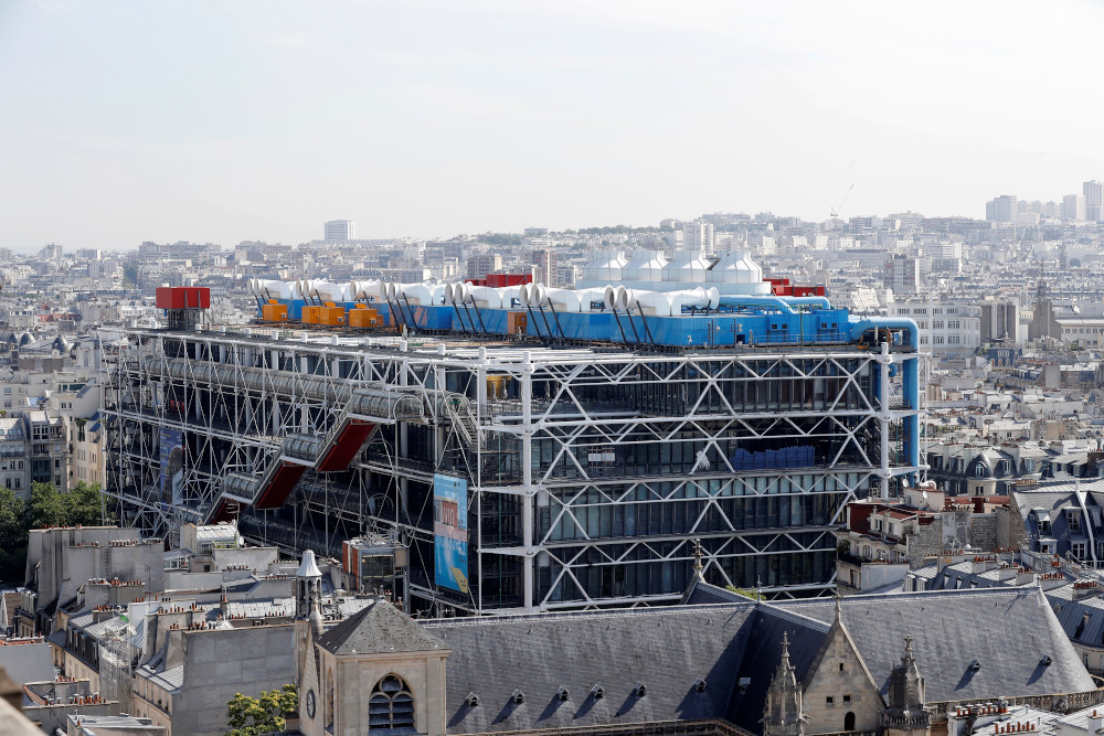 This file photo taken July 7, 2017 from the top of the Tour Saint-Jacques (Saint-Jacques Tower) shows the Centre Georges Pompidou in Paris. — AFP pic