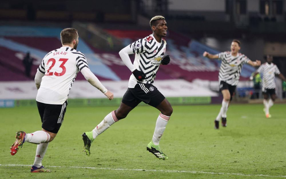 Manchester United's Paul Pogba celebrates after scoring a goal against Burnley January 13, 2021. ― Pool via Reuters