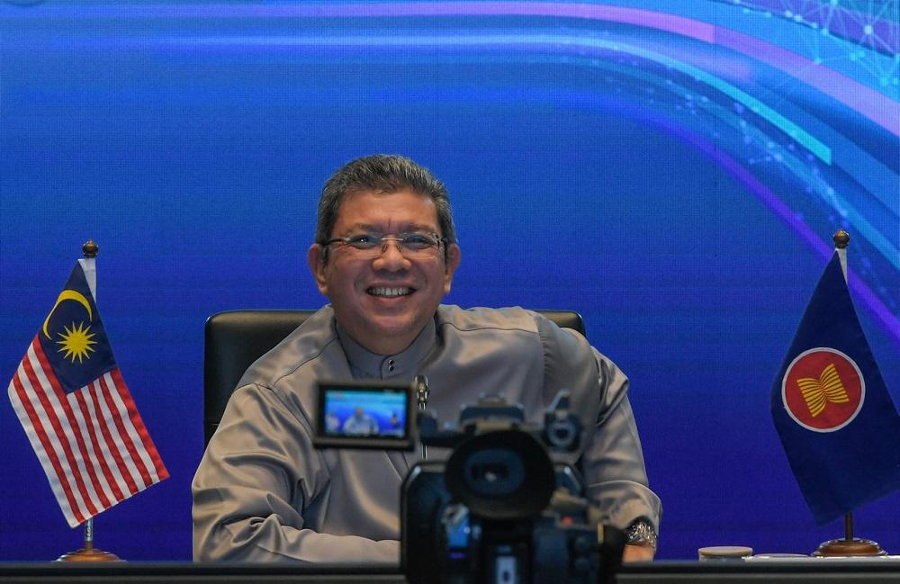 Communications and Multimedia Minister Datuk Saifuddin Abdullah reacts during the closing of the First Asean Digital Ministers' Meeting (ADGMIN1) in Kuala Lumpur January 22, 2021. ― Bernama pic