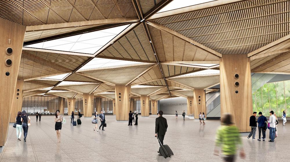 An artist's impression of an entrance of the RTS Link Woodlands North Station. — LTA image via TODAY