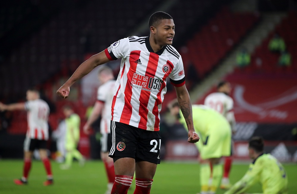 Sheffield United's Rhian Brewster celebrates after the match against Newcastle United January 13, 2021. ― Pool via Reuters