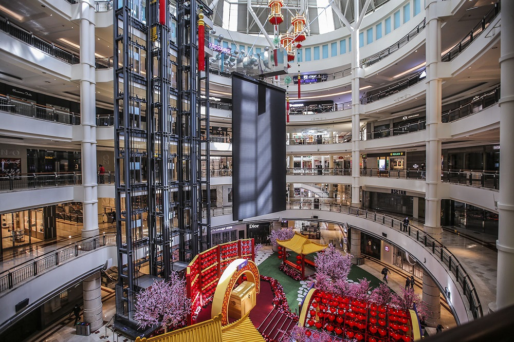 A general view of the Suria KLCC shopping mall during the movement control order in Kuala Lumpur January 16, 2020. — Picture by Hari Anggara
