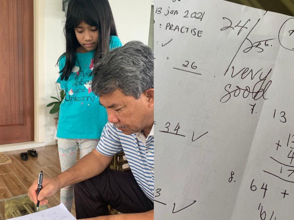 Tok Mat in grandpa mode marking his granddaughter's Math test. — Picture from Facebook/ Dato' Seri Utama Haji Mohamad Bin Haji Hasan