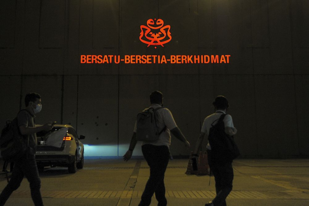 The Umno logo is pictured at Menara Dato' Onn in Kuala Lumpur January 6, 2021. — Picture by Shafwan Zaidon
