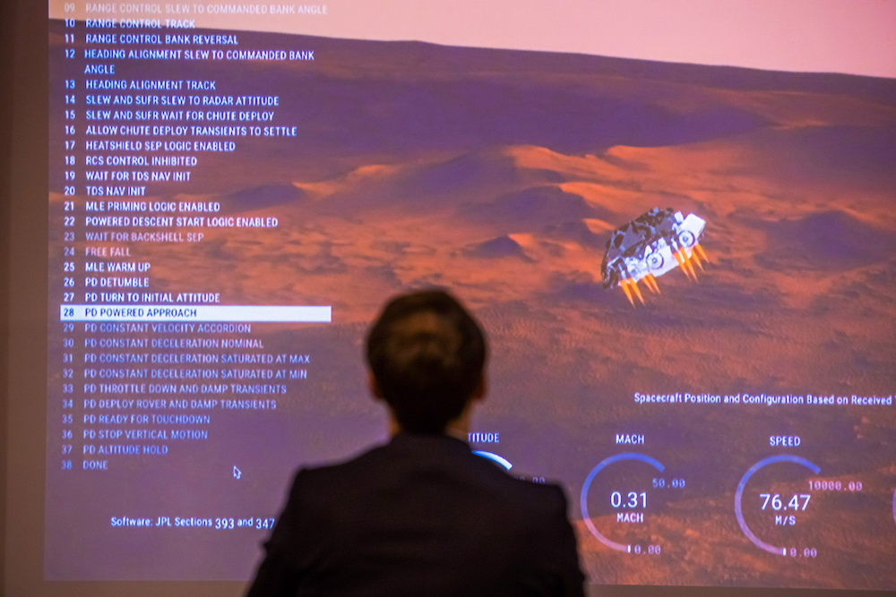 French President Emmanuel Macron attends a viewing of the landing of the Nasa Perseverance Mars rover on the planet Mars, at the French National Center for Space Studies (CNES) in Paris February 18, 2021. — Christophe Petit-Tesson/Pool via Reuters