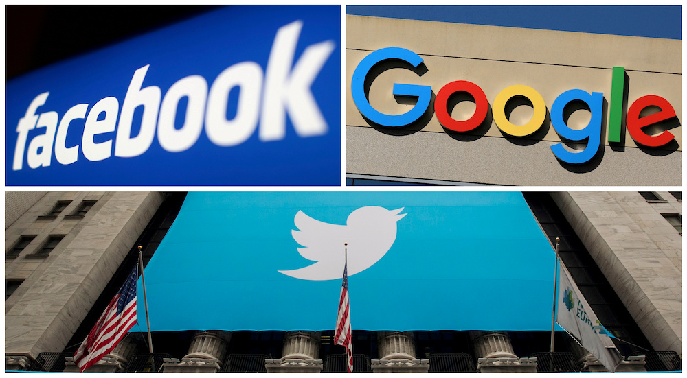 Facebook, Google and Twitter logos are seen in this combination photo from Reuters files. — Reuters pic