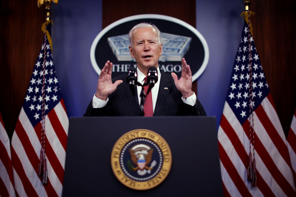 Biden has made fighting the coronavirus a top priority of his administration and the rollout of vaccines in the United States has led to a decline in case numbers and deaths. — Reuters pic