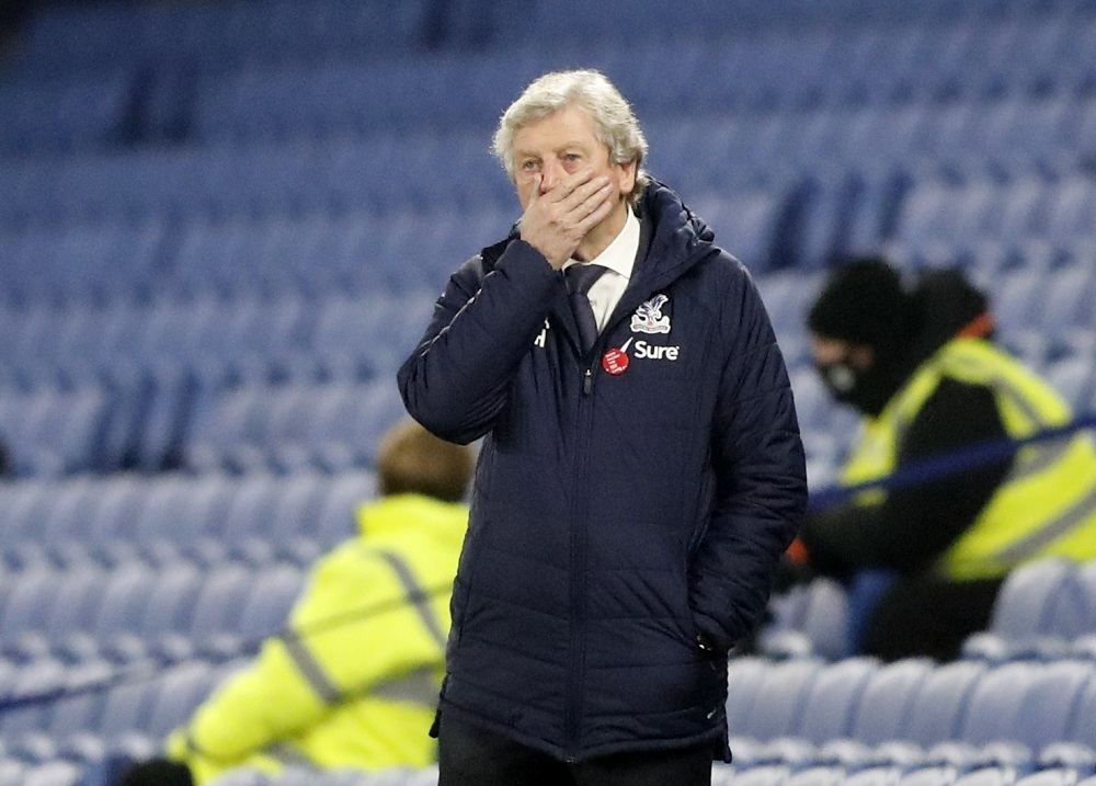 Crystal Palace manager Roy Hodgson reacts during the match against Brighton & Hove Albion at The American Express Community Stadium in Brighton February 22, 2021. — Pool pic via Reuters