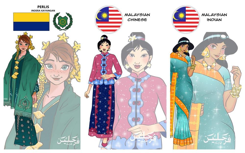 Farah Lina's artwork includes Anna in Kebaya Perlis, Mulan in kebaya with the Chinese collar and Princess Jasmine in saree. — Picture courtesy via Farah Lina