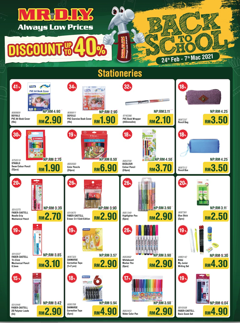 From colour pencils to correction tape, MR.DIY has your stationery needs covered (flyer applicable for West Malaysia only). — Picture courtesy of MR.DIY