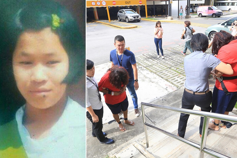 (Left) An old picture of Piang Ngaih Don. (Right) Prema S Naraynasamy and her daughter Gaiyathiri Murugayan, both in bodily restraints, being escorted separately to their Bishan flat by police investigators in August 2016. — Pictures via Facebook and TODAY