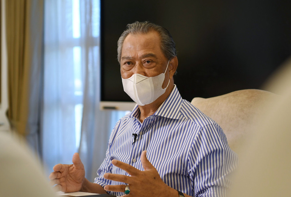 Prime Minister Tan Sri Muhyiddin Yassin during a special interview with several media organisations on his first year in office at his residence in Bukit Damansara, February 28,2021. — Bernama pic