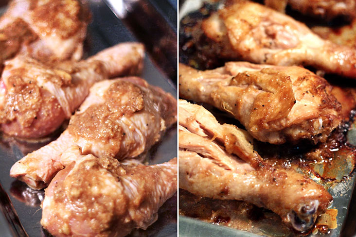 These drumsticks remain moist thanks to the juice of mandarin oranges.