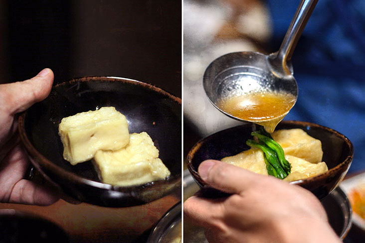 Ladle the reduced 'tentsuyu' broth over the fried tofu.