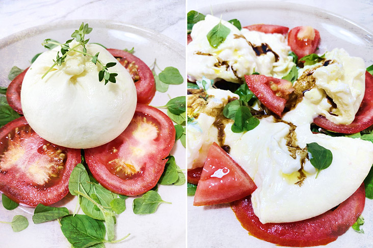 Enjoy creamy Burrata with tomatoes, basil, olive oil and balsamic vinegar.