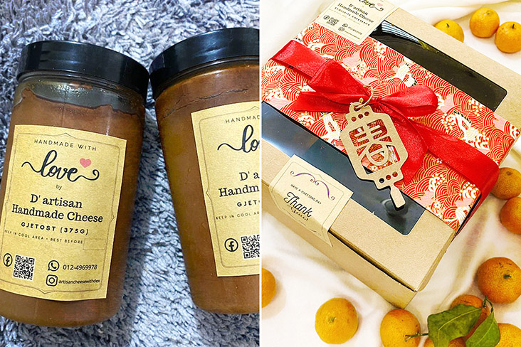 Gjetost, a creamy brown cheese from Norway (left) and their Exquisite CNY hamper (right).
