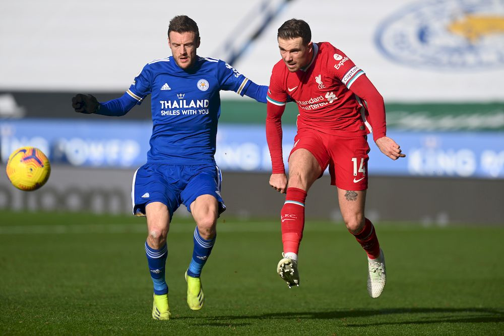 Leicester City's Jamie Vardy in action with Liverpool's Jordan Henderson during their Premier League match at King Power Stadium, Leicester, February 13, 2021. — Reuters pic