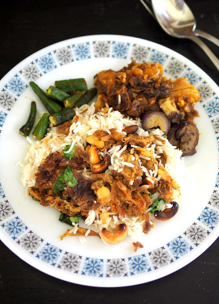 The unusual jackfruit lamb biryani is paired with a flavour packed vegetables, potatoes side dish flavoured with dried plums
