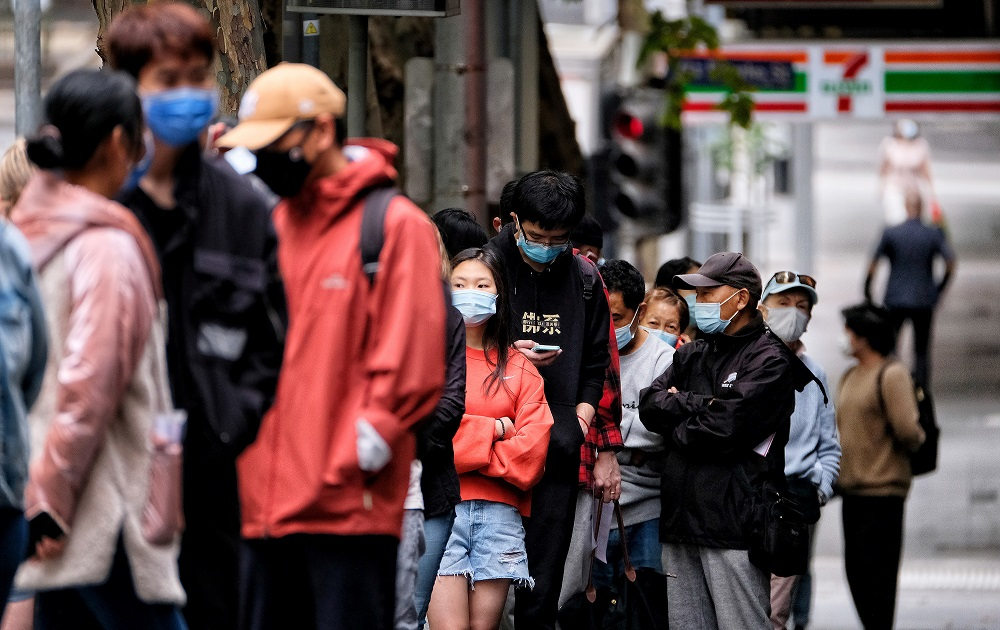 Residents line up to be tested for the coronavirus diseases amid a state-wide lockdown in Melbourne, Victoria February 15, 2021. ― Handout via Reuters