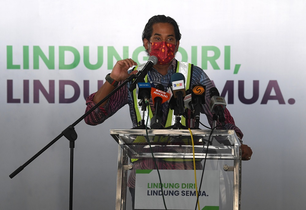National Covid-19 Immunisation Programme Khairy Jamaluddin speaks during a press conference in Sepang Frbruary 27, 2021. ― Bernama pic
