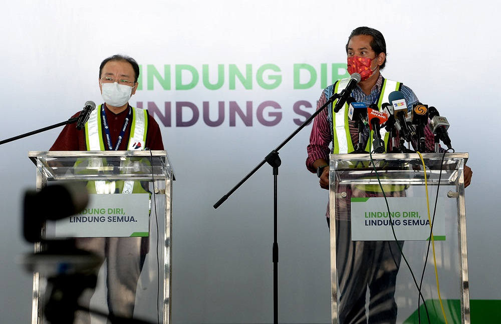 National Covid-19 Immunisation Programme Khairy Jamaluddin (right) speaks during a press conference in Sepang February 27, 2021. ― Bernama pic