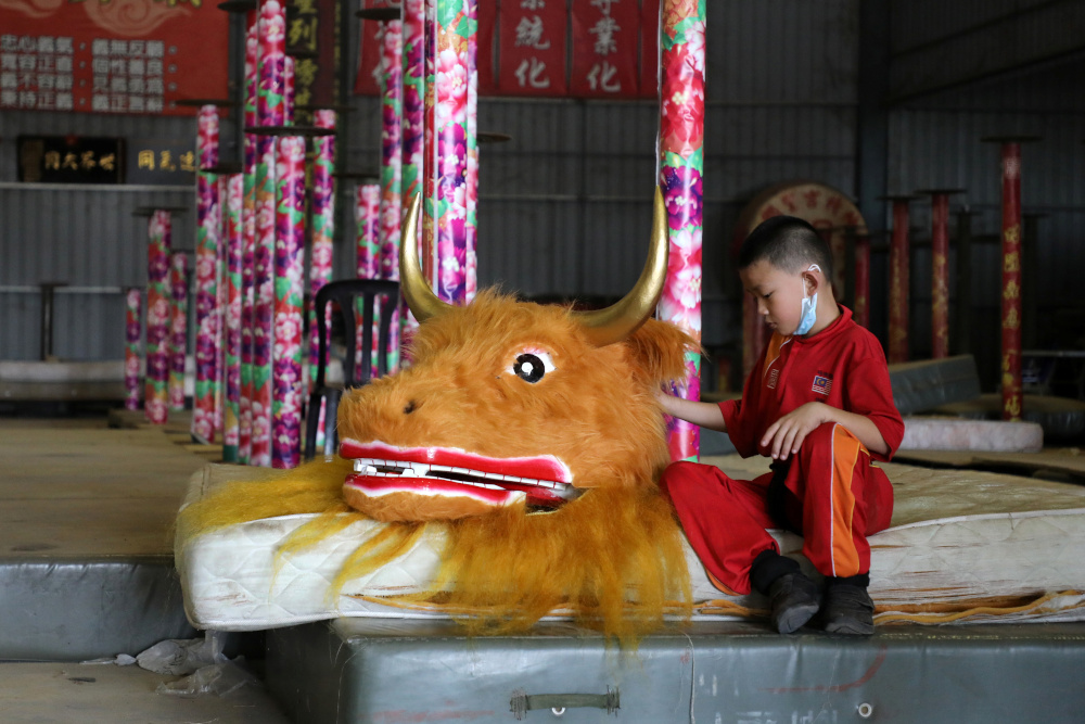 A member of the Kun Seng Keng Lion and Dragon Dance Association, touches an ox mask designed for Lunar New Year at a training centre, in Muar, Malaysia February 5, 2021. — Reuters pic