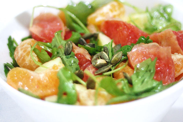 The ambrosial mandarin orange and rocket salad with sunflower seeds. – Pictures by CK Lim