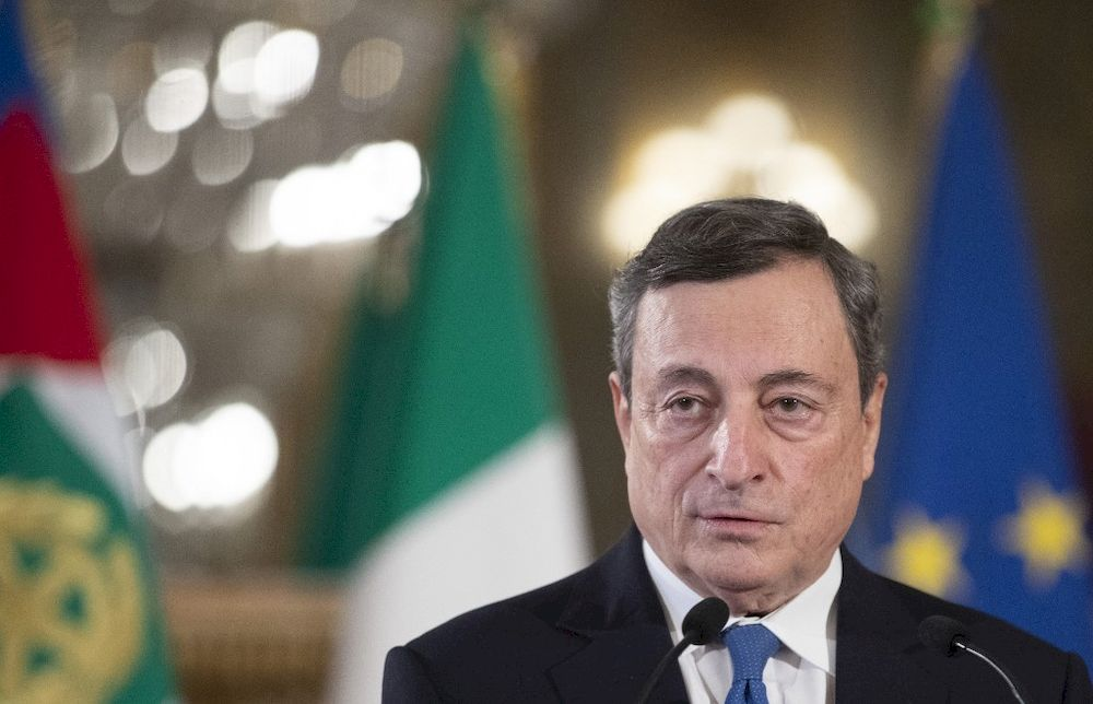 Former head of the BCE (European Central Bank) Mario Draghi looks on as he gives a press conference after a meeting with the Italian president, at the Quirinal palace in Rome, on February 3, 2021. — AFP pic