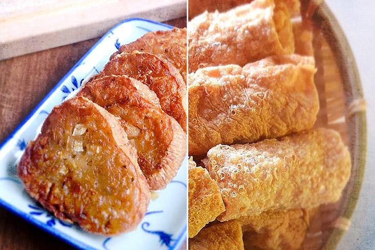 'Sengkuang cake' ('shā gé bǐng') and crispy beancurd rolls ('tóng tóng juǎn').