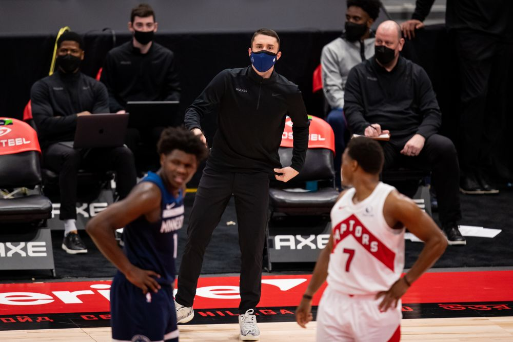 Minnesota Timberwolves head coach Ryan Saunders talks with players during the fourth quarter of a game between the Toronto Raptors and the Minnesota Timberwolves at Amalie Arena, Tampa February 14, 2021. — Reuters pic