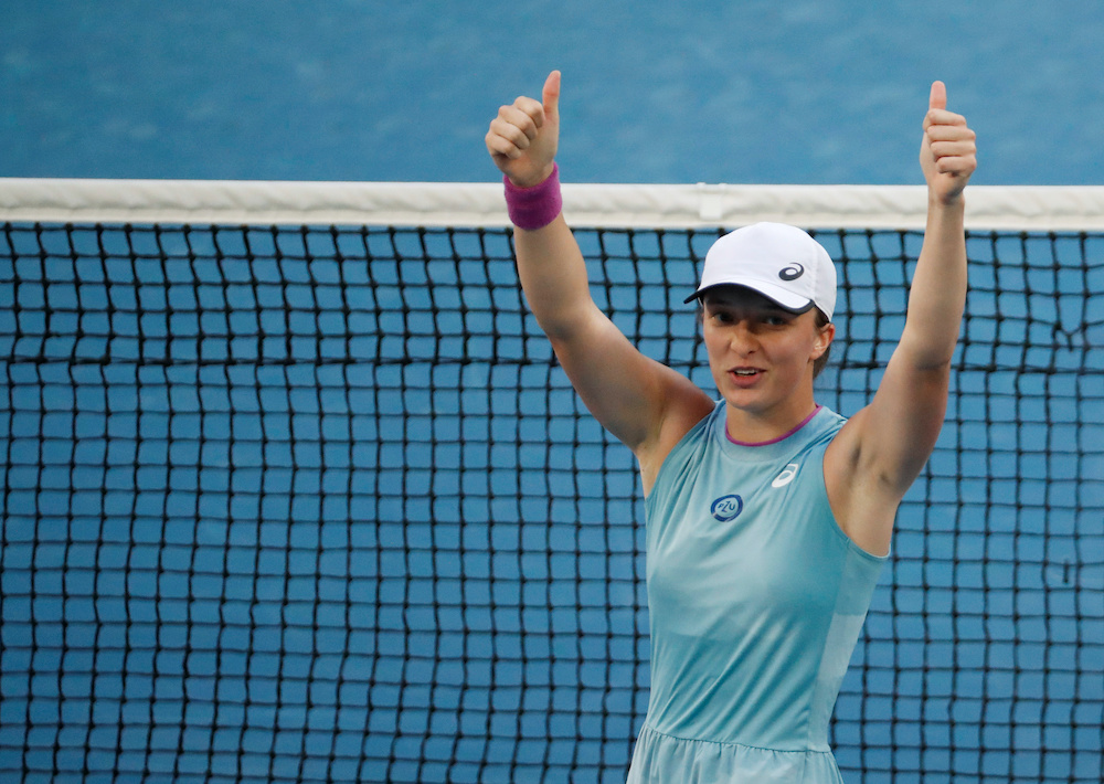 File photo of Poland's Iga Swiatek celebrating winning her second round match against Italy's Camila Giorgi at the Australian Open in Melbourne Park, Melbourne, February 10, 2021. — Reuters pic