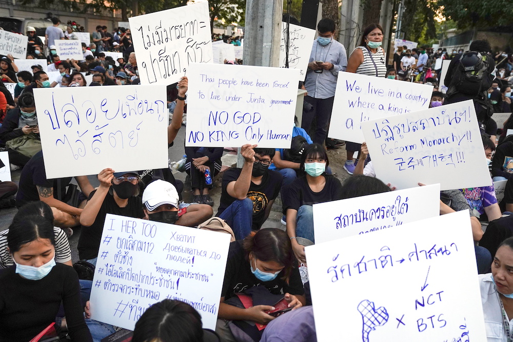The pro-democracy protests in Bangkok kicked off last July and called for the resignation of Prime Minister Prayut Chan-O-Cha's government. — Reuters pic